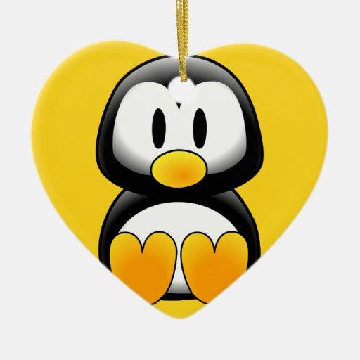 Pingüino lindo del dibujo animado del bebé adorno navideño de cerámica en forma de corazón