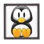 Pingüino lindo del dibujo animado del bebé cajas de recuerdo de calidad