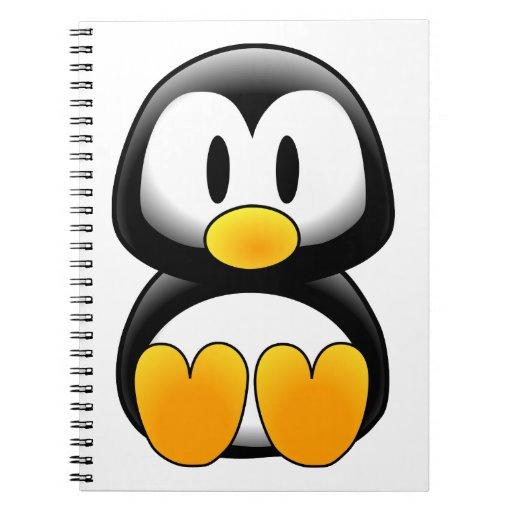 Pingüino lindo del dibujo animado del bebé libreta espiral