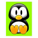 Pingüino lindo del dibujo animado del bebé postal