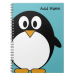 Pingüino lindo del dibujo animado libros de apuntes