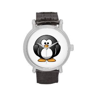Pingüino lindo del dibujo animado relojes