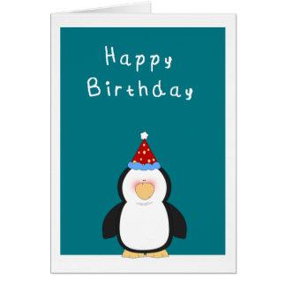 Pingüino lindo del feliz cumpleaños tarjeta de felicitación