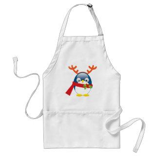 Pingüino lindo del navidad delantal