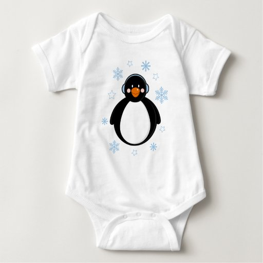 Pingüino lindo del navidad en orejeras body para bebé