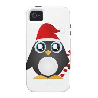 Pingüino lindo del navidad iPhone 4/4S funda
