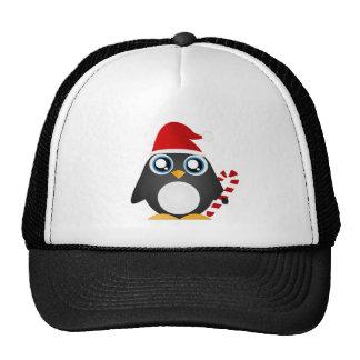 Pingüino lindo del navidad gorro de camionero