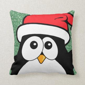 Pingüino lindo del navidad Ho Ho Ho Cojin