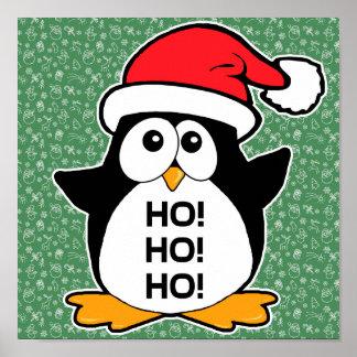 Pingüino lindo del navidad Ho Ho Ho Posters