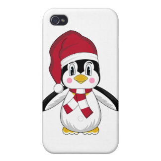 Pingüino lindo del navidad i iPhone 4/4S fundas