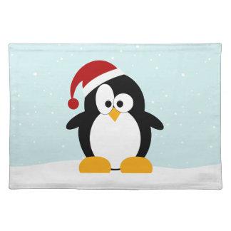 Pingüino lindo del navidad manteles