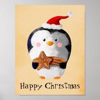 Pingüino lindo del navidad poster