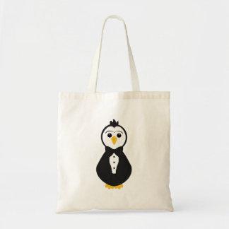 Pingüino lindo del novio bolsa tela barata
