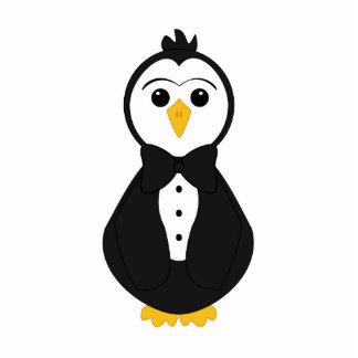 Pingüino lindo del novio escultura fotográfica