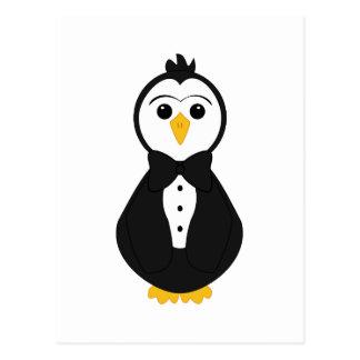 Pingüino lindo del novio postal