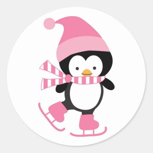 Pingüino lindo del patinaje de hielo en rosa pegatina redonda