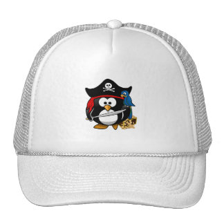 Pingüino lindo del pirata con el cofre del tesoro gorras de camionero
