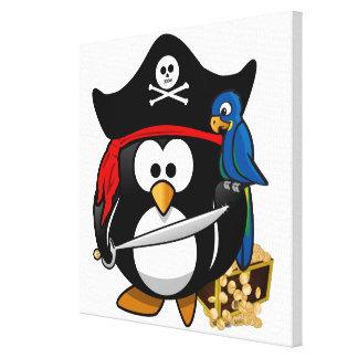 Pingüino lindo del pirata con el cofre del tesoro impresión en lona
