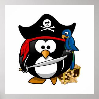 Pingüino lindo del pirata con el cofre del tesoro póster