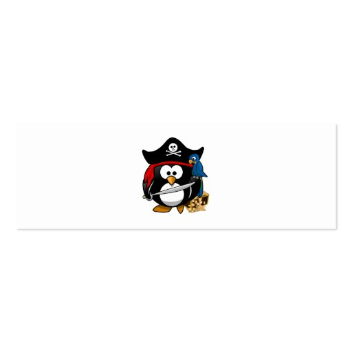 Pingüino lindo del pirata con el cofre del tesoro tarjetas de visita mini