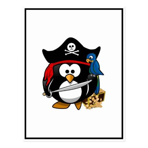 Pingüino lindo del pirata con el cofre del tesoro postal