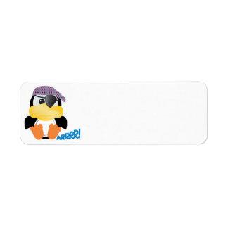 Pingüino lindo del pirata de Goofkins Etiquetas De Remite