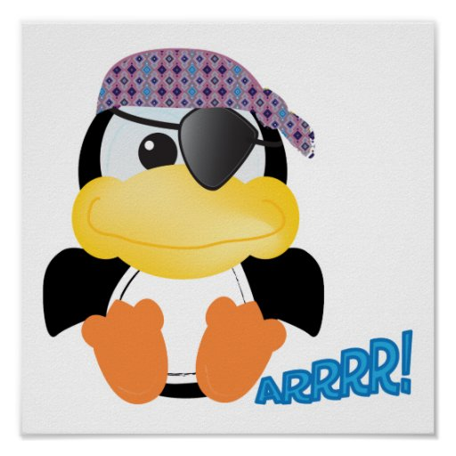 Pingüino lindo del pirata de Goofkins Impresiones