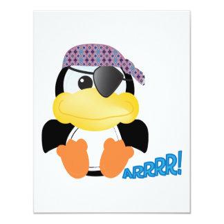 Pingüino lindo del pirata de Goofkins Invitación 10,8 X 13,9 Cm