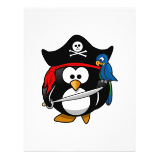 Pingüino lindo del pirata del dibujo animado con e tarjeton