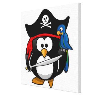 Pingüino lindo del pirata del dibujo animado con e impresion de lienzo