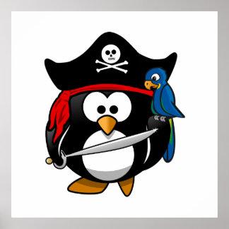 Pingüino lindo del pirata del dibujo animado con e impresiones