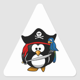 Pingüino lindo del pirata del dibujo animado con colcomanias triangulo