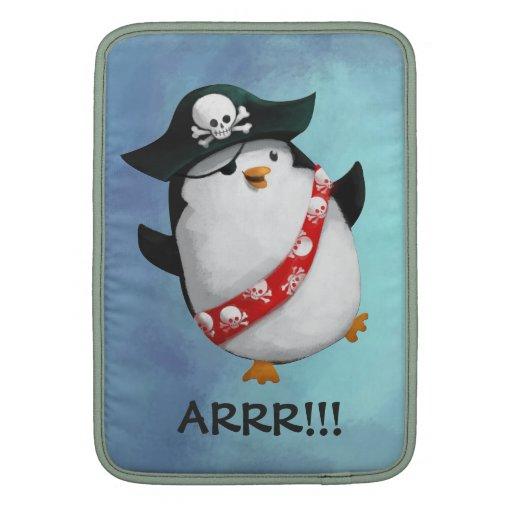 Pingüino lindo del pirata funda para macbook air