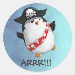 Pingüino lindo del pirata pegatina redonda