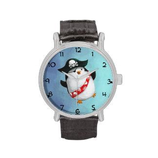 Pingüino lindo del pirata reloj de mano