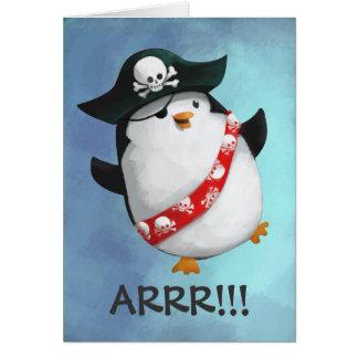 Pingüino lindo del pirata felicitacion