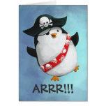 Pingüino lindo del pirata tarjeta de felicitación