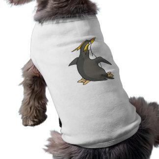 pingüino lindo del rockhopper camisa de perrito