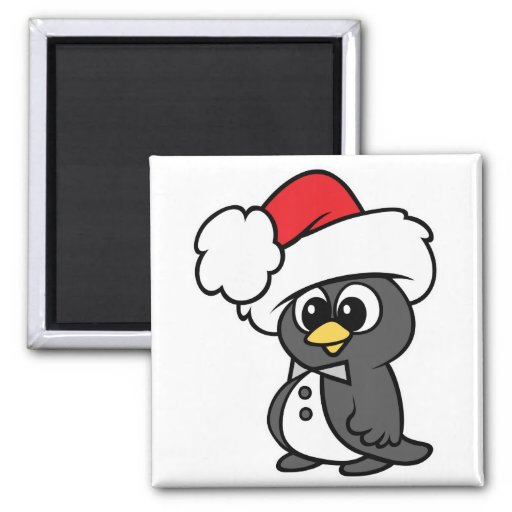 Pingüino lindo del smoking del navidad imán cuadrado