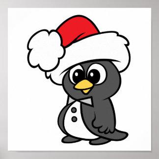Pingüino lindo del smoking del navidad posters