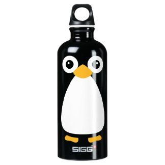 Pingüino lindo del vector botella de agua