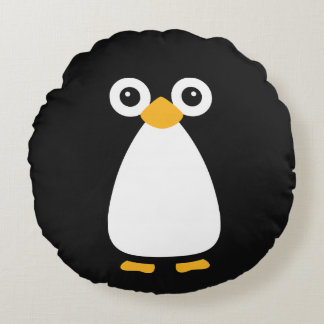 Pingüino lindo del vector cojín redondo