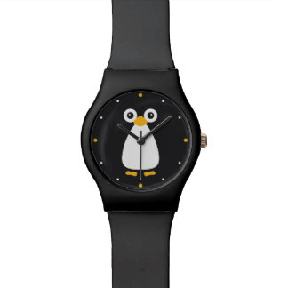 Pingüino lindo del vector reloj de mano