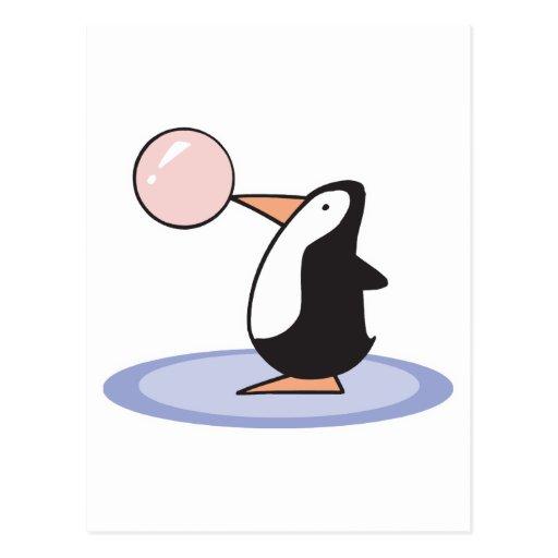 pingüino lindo divertido del chicle postales