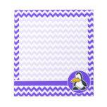 Pingüino lindo en Chevron violeta azul Libreta Para Notas