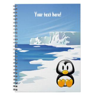 Pingüino lindo en el hielo libretas