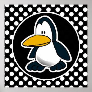 Pingüino lindo en lunares blancos y negros posters
