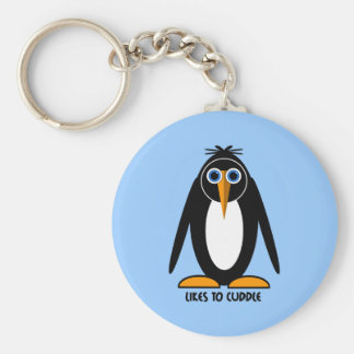 pingüino lindo llavero redondo tipo pin