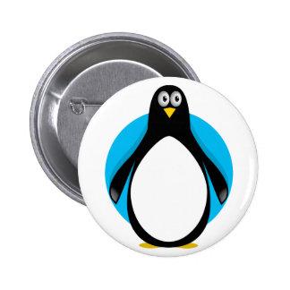 Pingüino lindo pin redondo de 2 pulgadas
