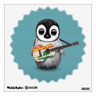 Pingüino lindo que juega el azul de la guitarra de vinilo